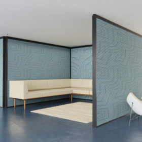 Adaptable Wall with blue fabric